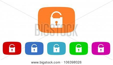 padlock flat design modern vector circle icons colorful set for web and mobile app isolated on white background