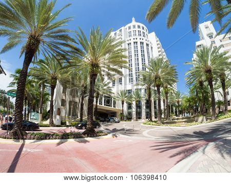 MIAMI,USA - AUGUST 8,2015 : The luxurious Loews Miami Beach Hotel and it tropical palms garden