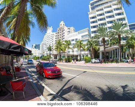 MIAMI,USA - AUGUST 8,2015 : Street scene with famous hotels at Collins Avenue in Miami Beach