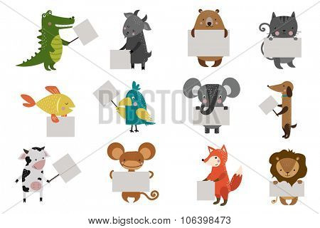 Wild animal zoo strike clean plate board vector cartoon set. Wild vector animals. Jungle animals. Pets silhouette. Vector animals. Fox, lion and monkey. Cat and dog, elephant, crocodile, fish, bear