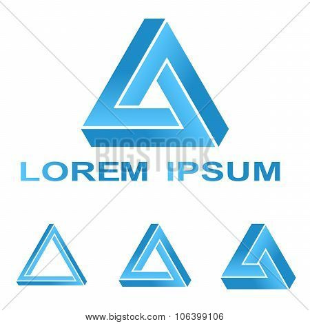 Blue Penrose triangle technology company symbol set
