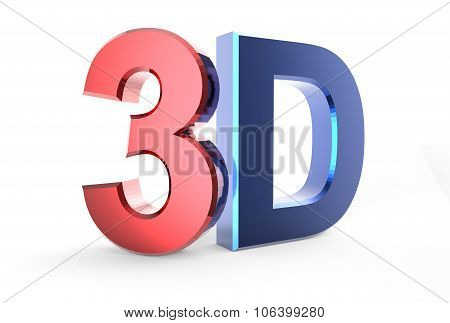 3D Logo Isolated On White Background With Reflection Effect