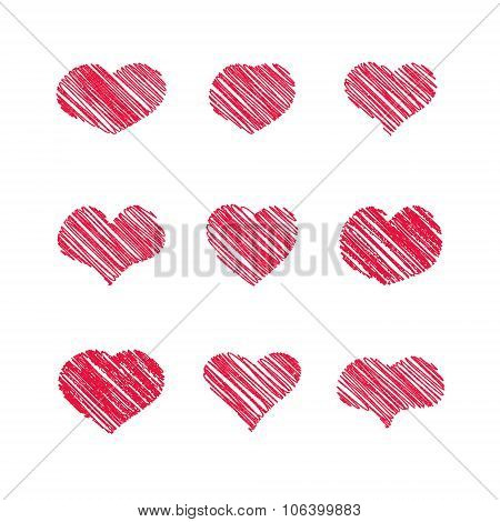 Abstract white heart shapes set