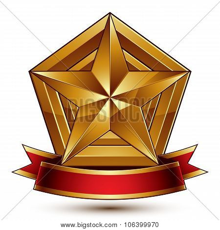 3D Golden Heraldic Blazon With Glossy Pentagonal Star, Best For Web And Graphic Design, Clear Eps 8
