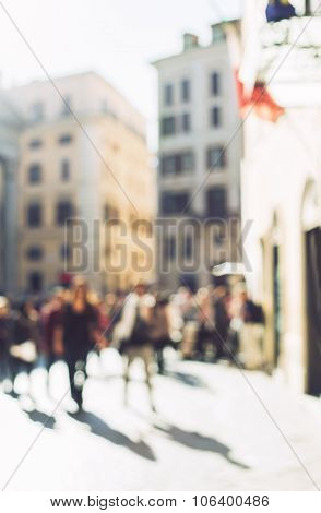 Blurred Crowd Of Walking People In Rome, Italy