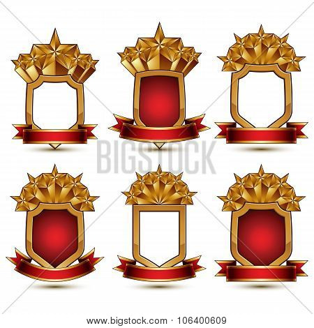 Set Of Geometric Vector Glamorous Golden Elements Isolated On White Backdrop, 3D Polished Stars, Pro