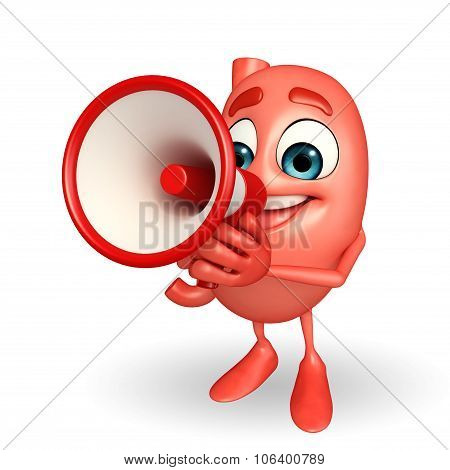 Cartoon Character Of Stomach With Loudspeaker