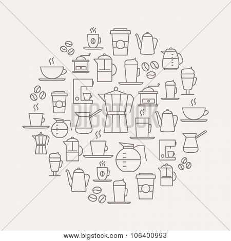 Coffee background made from coffee icons - thin line design. For restaurant menus, interior decorations, stationery, business cards, brand design, websites etc.