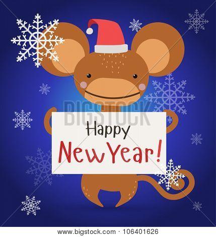New Year Christmas ape wild cartoon animal holding 2016 board vector cartoon. Wild cartoon monkey. Christmas ape monkey. Monkey cartoon illustration. Vector ape holding new year board. Monkey holding