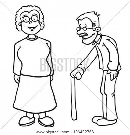 simple black and white grandparents cartoon