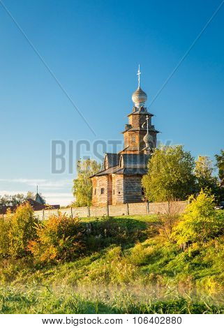 Church of Transfiguration in Old Russian Town - Suzdal, Russia. Preobrazhenskaya church from village Kozlyatevo, transported in Suzdal - monument of wooden architecture of middle of the XVIII century.