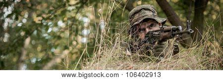 Warrior In Bushes