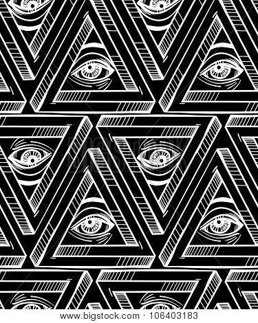 All seeing eye seamless pattern.