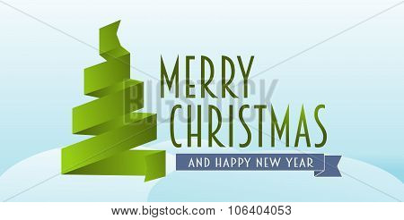 Merry Christmas And Happy New Year Concept Of Greeting Card With Ribbon Christmas Tree On Light Back