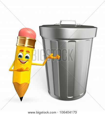 Pencil Character With Dustbin