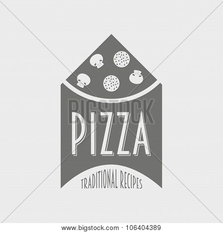 Vector Concept Of Italian Pizza Logo. Pizzeria Logotype.
