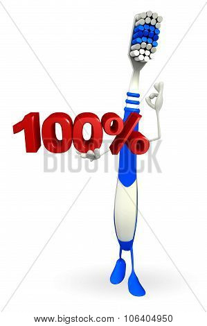 Toothbrush Character With Percentage Sign