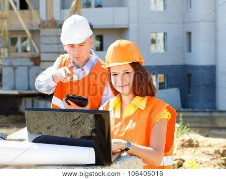 Portrait Of Male Architect And  Woman Discussing Plan