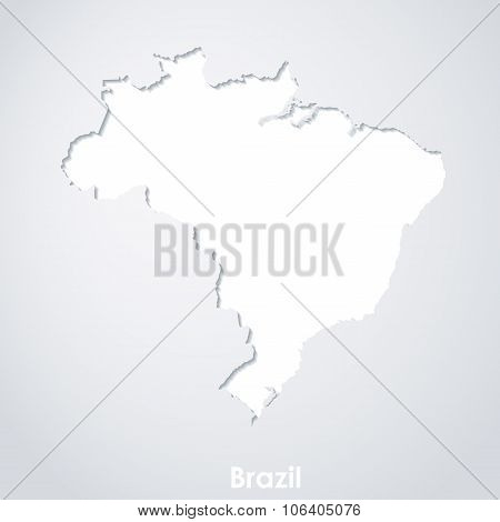 Map of Brazil. White paper silhouette with shadows on white background.