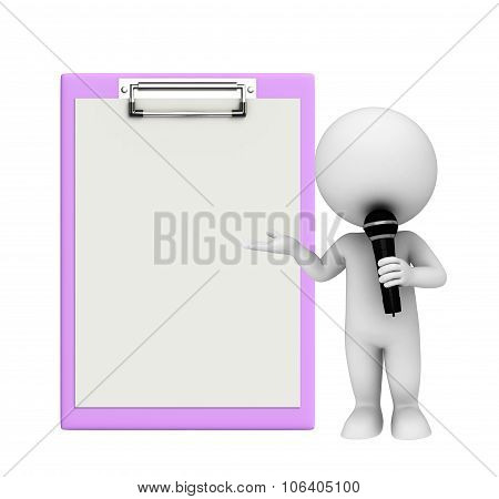 White Character With Notepad