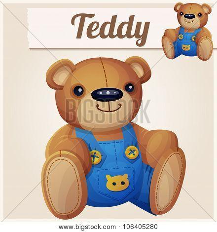 Teddy bear in overalls. Cartoon vector illustration