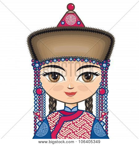The girl in Buryat dress. Portrait, avatar