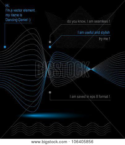 3D Futuristic Flowing Lines, Light Dynamic Background, Abstract Design Seamless Backdrop. Creative W