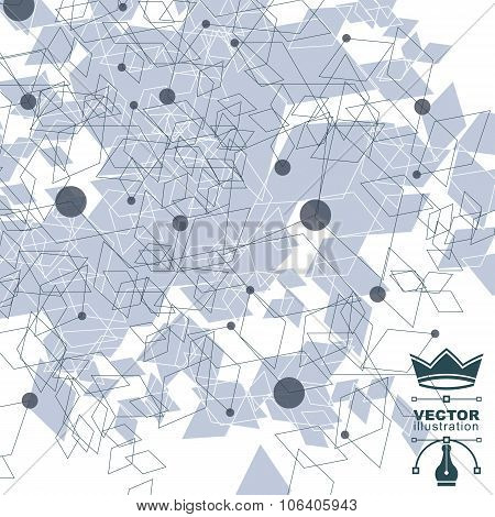 Spatial vector digital lattice backdrop. 3d mesh technology background with overlay spot elements