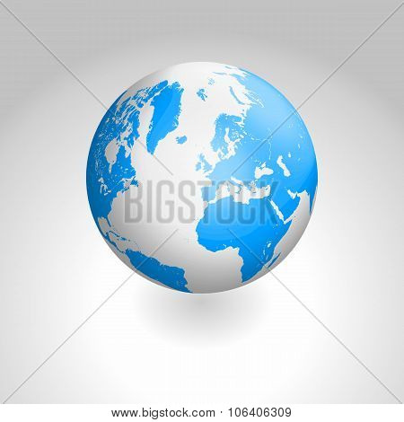Vector globe icon of the world
