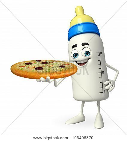 Baby Bottle Character With Pizza