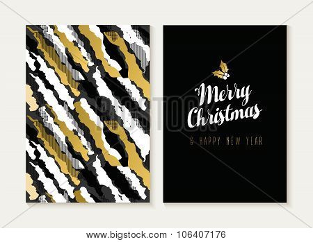 Merry Christmas New Year Gold Retro Pattern Card