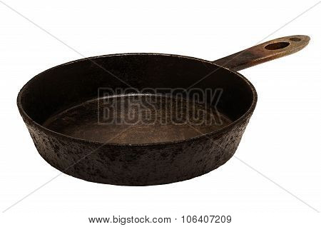Old Iron Frying Pan On A White Background.