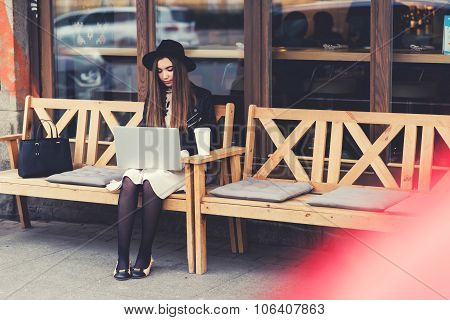 Charming young woman with trendy look work on portable laptop computer during coffee break outdoors