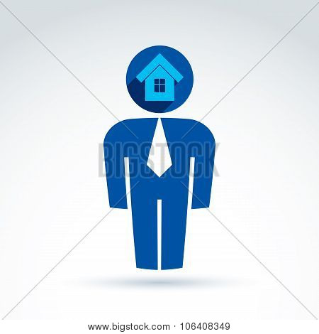 Silhouette Of Person Standing In Front, Vector Illustration Of Real Estate Agent.  Delegate,