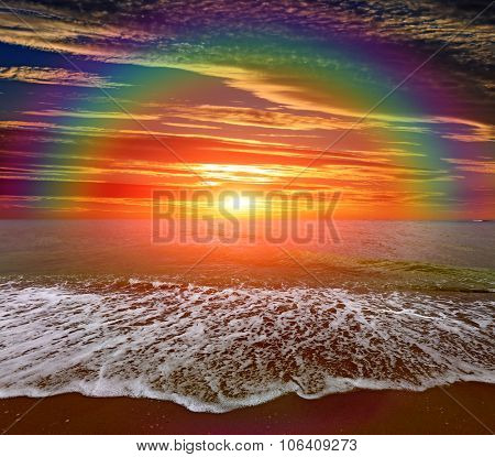 Nice  landscape with rainbow over sea