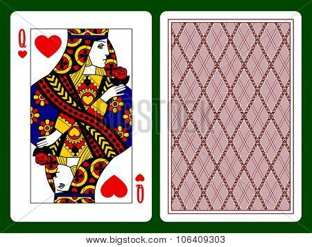 Queen of Hearts playing card and the backside background. Faces double sized. Original design. Vector illustration