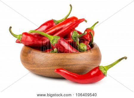 Red Hot Chili Peppers In Wooden Bowl