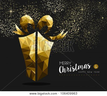 Merry Christmas Happy New Year Gold Gift Low Poly