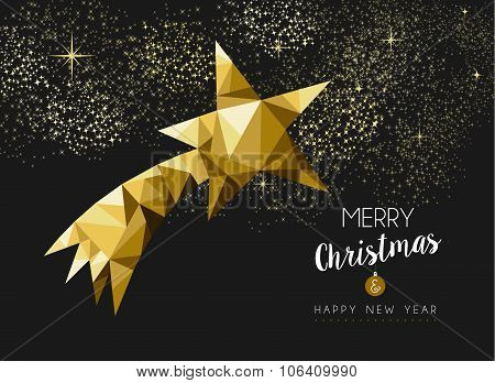 Merry Christmas Happy New Year Gold Star Triangle