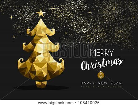 Merry Christmas Happy New Year Golden Pine Tree Low Poly