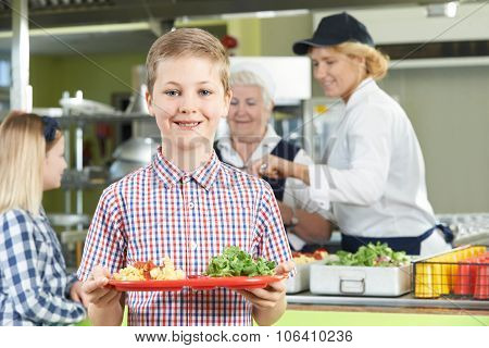 Male Pupil With Healthy Lunch In School Canteen