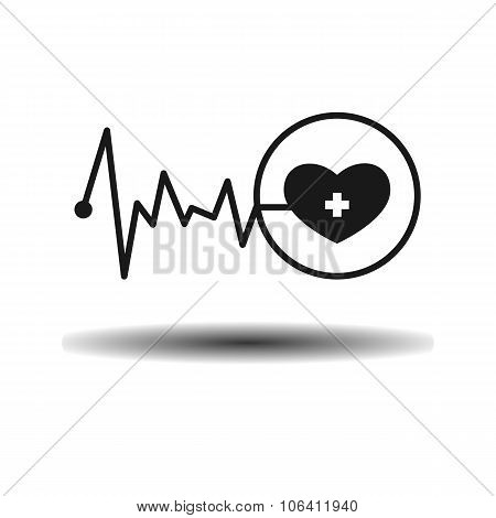 Medical Cardiogram Heart And Pulse Flat Monochrome Icon