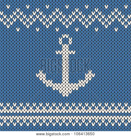 Vector anchor ornament on the wool knitted texture