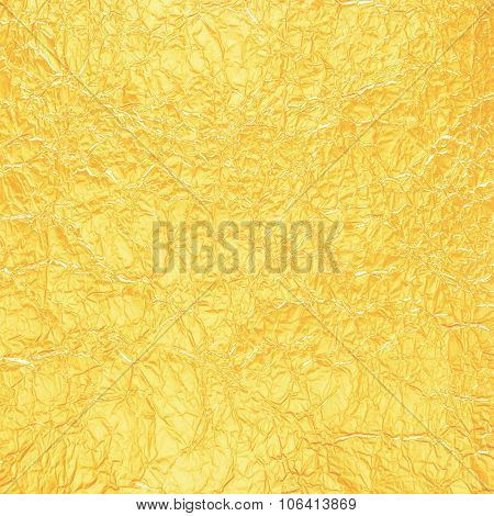 Shiny Yellow Leaf Gold Foil Texture For Background
