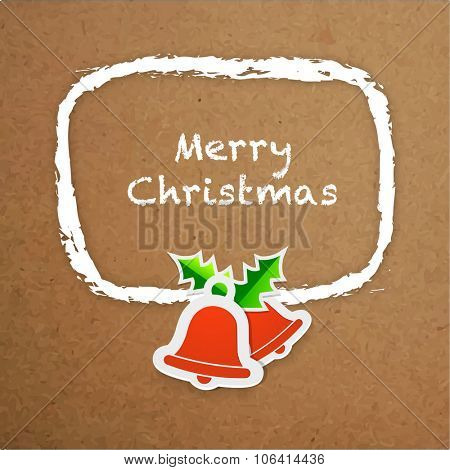 Elegant greeting card design with Jingle Bells on stylish brown background for Merry Christmas celebration.