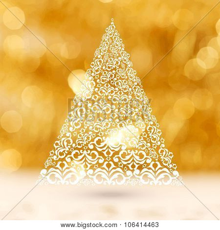 Creative Xmas Tree made by beautiful floral design on shiny background for Merry Christmas celebration.