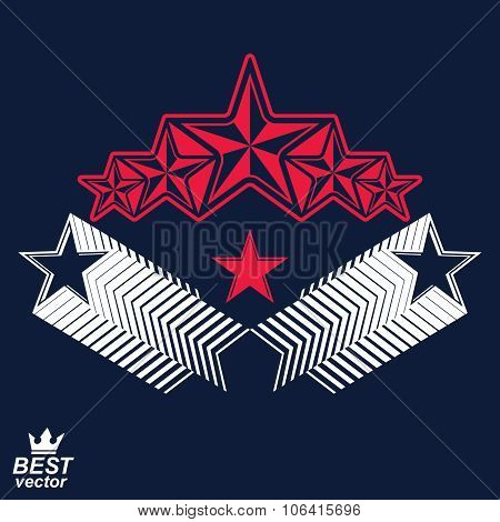 Vector Detailed Luxury 3D Symbol. Monarch Emblem, Celebrative Stars. Stylized Brand Icon, Award Conc