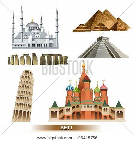 World Landmark icon set1