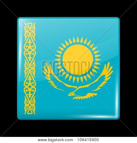 Flag Of Kazakhstan. Glassy Icon Square Shape