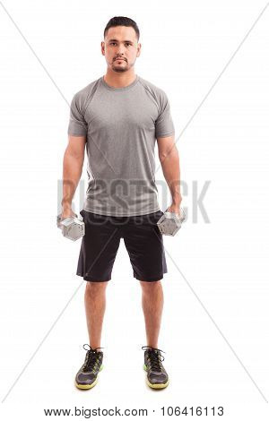 Lifting Weights On A White Background